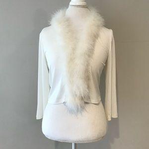 Calvin Klein White Fur Trim Bolero Cardigan Large
